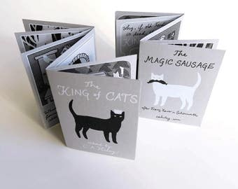 Two Tales of Magic Cats - screenprinted artist's book, folktale, cat illustration, comic, storytelling, handmade, limited edition