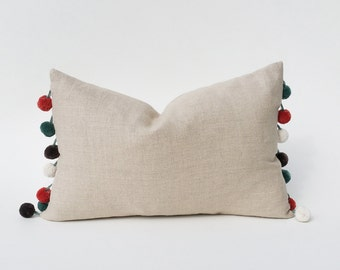 Pom-Pom Trimmed Decorative Throw Pillow Cover