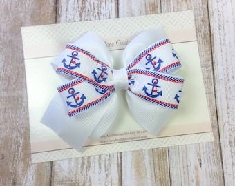 4th of July Hair Bow - Nautical Hair Bow - Summer Hair Bows - Patriotic Bows - Girls Holiday Hair Accessories - Independence Day Hair Bow