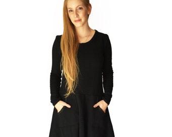 Long sleeve black dress, Boho dress, Winter dress, Pockets dress, Party dress, Warm dress, Cotton, Evening dress, Above the knee dress