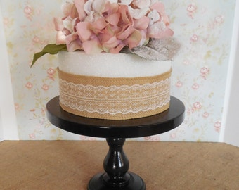 """10"""" Wood Cake Stand / Wooden cake pedestal / Custom Colors / Rustic wood stand / Cottage Style stand / Baby Shower Stand /Black Cake Stand"""