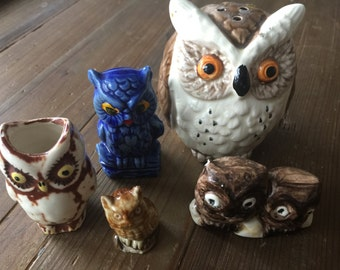 Set of 5 Vintage Owl Figurines Figures Miniatures - Perfect Whimsy Home Décor