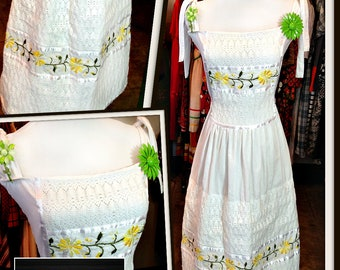 Vintage White Cotton Floral Yellow Green Embroidery Dress FREE SHIPPING