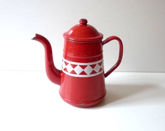 French Antique Enamel Coffee Pot with Lid french Enamelware French Country Decor