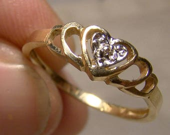 10K Heart Openwork Diamond Ring 1980s - Size 5