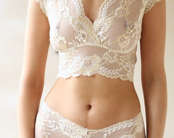 Cream Lace Bralette and French knickers Limited Edition matching Lingerie Set from Brighton Lace Bridal Lingerie