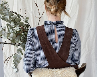 Brown Washed Linen Cross back Apron