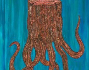 Stumptapus- cephalopod stump. Print - acrylic painting. 8x10