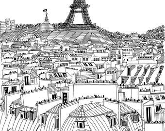 Original Ink Drawing: Paris Rooftops