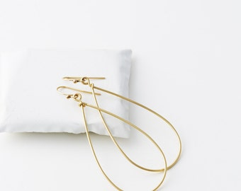 Gold Dangle Hoop Earrings, TearDrop Hoop Earrings, Modern 14K Gold Fill Earrings, Dainty Gold Earrings, Silver, Rose Gold, LE414