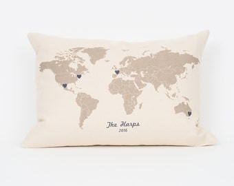 Custom World Map Pillow, Travel Pillow, Wanderlust, Gift for Traveler, Gift for Sister, Going Away Gift, Mark Your Travels