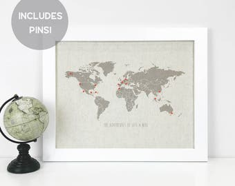 Personalized Push Pin Travel Map - 2 Sizes - Travel Gift - Anniversary Gift - Map Art - Cork Map - Wanderlust - Gift for Her - World Map