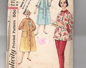 2310 Simplicity Sewing Pattern Lounging Pajama & Robe Size 14 34B Vintage 1950s