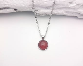 Carnelian brown red orange silver short necklace//Carnelian silver steel round necklace//Hypoallergenic carnelian gem 12mm silver necklace