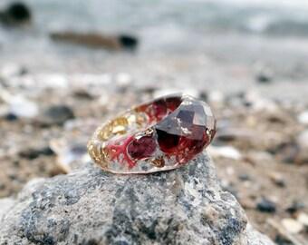 Garnet ring gold ring marsala wedding ring resin ring faceted ring terrarium gift for wife garnet jewelry gemstone ring burgundy birthstone