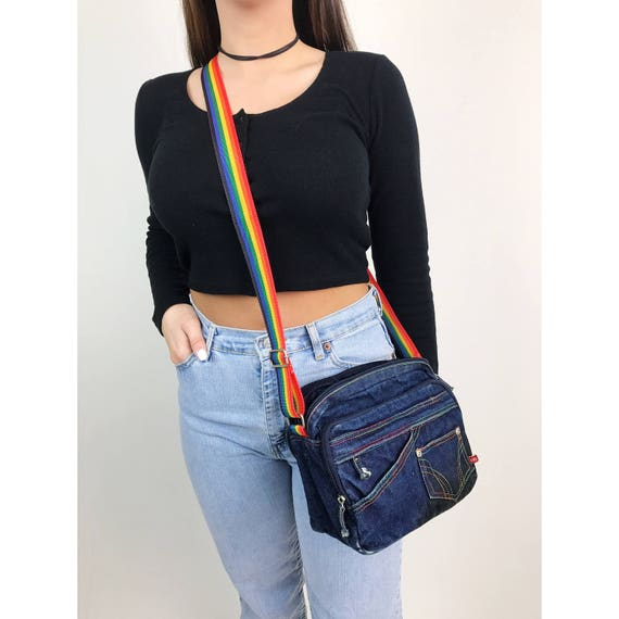 90's Rainbow Strap Denim Purse Crossbody Bag - Multiple Pocket Rainbow Stitch Dark Blue Denim Purse - Skater Girl Tote Bag Rainbow Purse