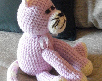 """Crocheted kitty cat stuffed animal doll toy """"Spencer"""""""