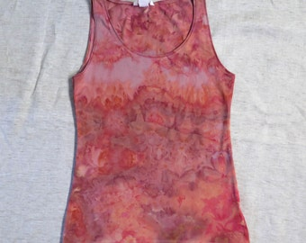 Raspberry Squash (unique, hand-dyed, cotton tank top, size Medium)