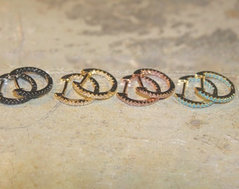 8 STYLES AVAILABLE - Tiny Vermeil & Rose Gold Turquoise Zircon hoop huggies earrings with Zircon
