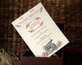 Rustic Barn Invitation, Rustic Custom Invite, Barn Wedding Invitation, Elegant Barn Wedding, Rustic Vintage Invitation, Vintage Train Invite