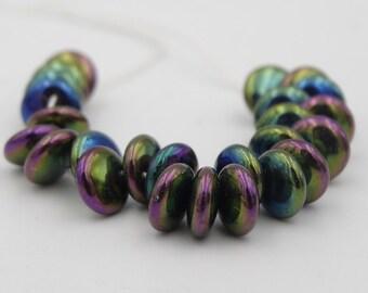 6mm Lentil Iris Mix Glass Bead  25 Pieces