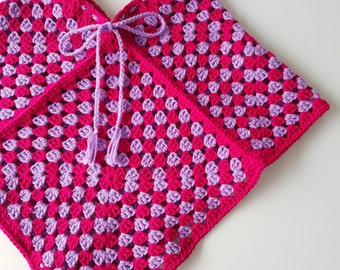 Little Girls Crochet Poncho - Pink and Purple Granny Square Retro Girls Clothing - Boho Knitted Poncho Capelet
