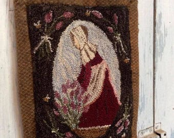 """Pattern: Punch Needle Embroidery Pattern """"The Lavender Harvest"""" by Vintage Heart Rug Design (Yvonne Buus)"""