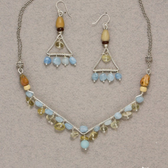 "CHRISTMAS SALE 25% off  ""A drop of happiness"". Light and delicate jewelery set with natural aquamarine and citrine. necklace and earrings"