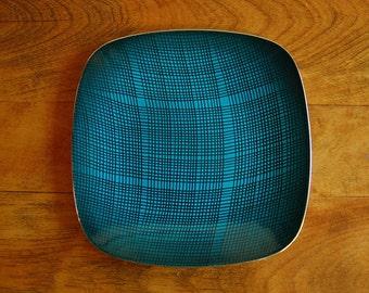 Cathrineholm Quadratic Lines Teal Blue Enamel on Stainless Square Plate, Grete Prytz Kittelsen Norway, Scandinavian Danish Mid Century