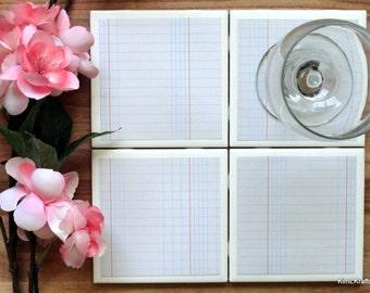 Tile Coaster - Coasters for Drinks - Coasters Tile - Lined Paper Coasters - Handmade Coasters - Coasters - Drink Coasters - Tile Coasters