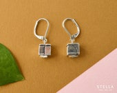 Geometric dangly earrings, silver cube earrings, handmade pewter, hypoallergenic steel ear wires, women gift, gift idea for teacher