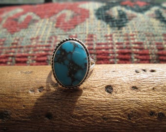 Spider Web Turquoise and Sterling  Ring Size 5