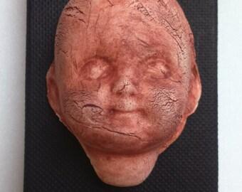 Porcelain Doll Brooch Red