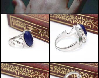The Vampire Diaries Elena Gilbert Daylight Ring Lapis Sterling Silver 925 Cubic Zirconia Nina Dobrev