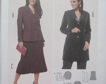 Burda 6862-- Women's JACKET and SKIRT pattern in sizes US 18-28.  Pattern is uncut and factory folded.
