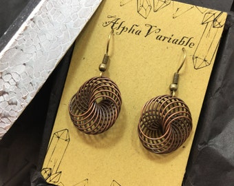 Wire Wrapped Infinity Spiral Vortex Earrings FREE GIft Box Apocalyptic Steampunk Gypsy Boho Jewelry Explorer Adventurer Time Machine Cosplay