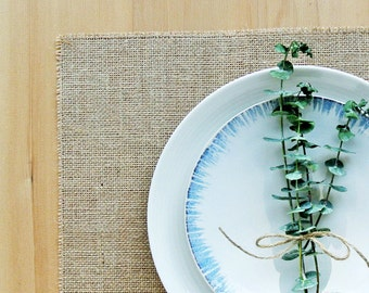 Basic Burlap Placemats.  Set of 4 or 6 Rustic Chic Placemats.