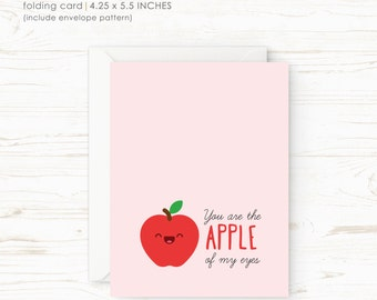 You are the apple of my eyes - Printable Valentine Card - Love Card - Instant Download - Funny Valentine - LV001