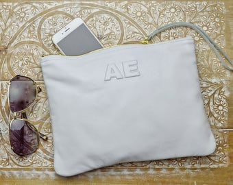 Leather Monogram, Large White Leather Clutch, Leather Pouch, iPad pouch, custom handmade personalization initials