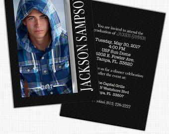 Masculine Graduation Announcement, Party Invitation, HS Senior, College, Open House, Change Colors, We Add Photos