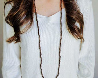 BACK IN STOCK!!! Boho Extra Long Brown Wooden Beaded Wrap Around Twice Choker Necklace!