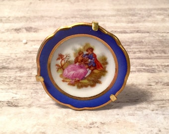 Vintage Limoges Miniature Plate with Stand Blue and Gold Fragonard Porcelain Collector Plate Courting Couple Knick Knacks Love Story, France