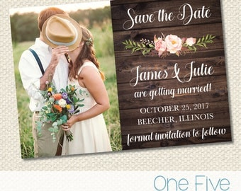 Rustic Wedding Save The Date with Pink Flowers - Printable (5X7)