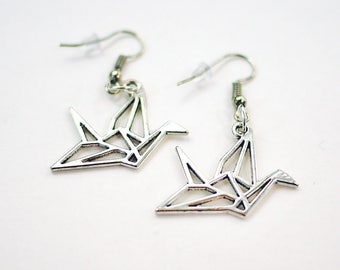 Paper Crane Earrings, Origami Crane Jewelry Paper Bird Earrings, Origami Bird Necklace, Origami Bird Jewelry, Gifts for Her Bohemian Jewelry