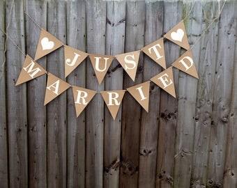Just Married wedding bunting, Rustic, Boho wedding prop, neutral, ivory