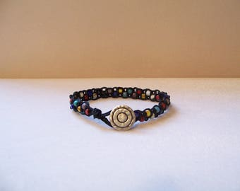 Colorful Mystic Circle Beaded Macrame Bracelet, Hemp Bracelet, Hemp Jewelry, Macrame Jewelry, Macrame Bracelet, Yoga Jewelry, Hippie Jewelry