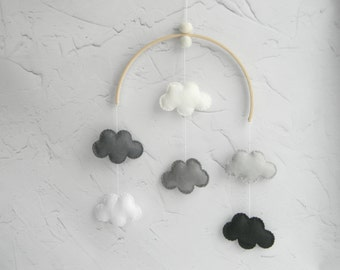 Monochrome Nursery Decor Monochrome Baby Mobile Cloud mobile Hanging mobile Neutral mobile Black Gray White Nursery Decor