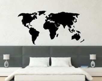 World Map Decal World Atlas Decal Map Vinyl Wall Decal Travel Decal Travel Map Globe Decal Travel The World Map