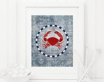 Crab Printable Nautical Crab Print Nautical Wall Art Nautical Nursery Decor Anchor Printable Kid's Nautical Bathroom Wall Art Beach Decor