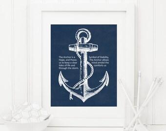 Anchor Printable Anchor Quote Print Nautical Wall Art Navy Nautical Decor Navy Anchor Wall Art Inspirational Art Home Office Decor